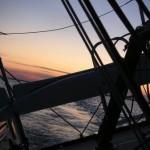 partenza al tramonto